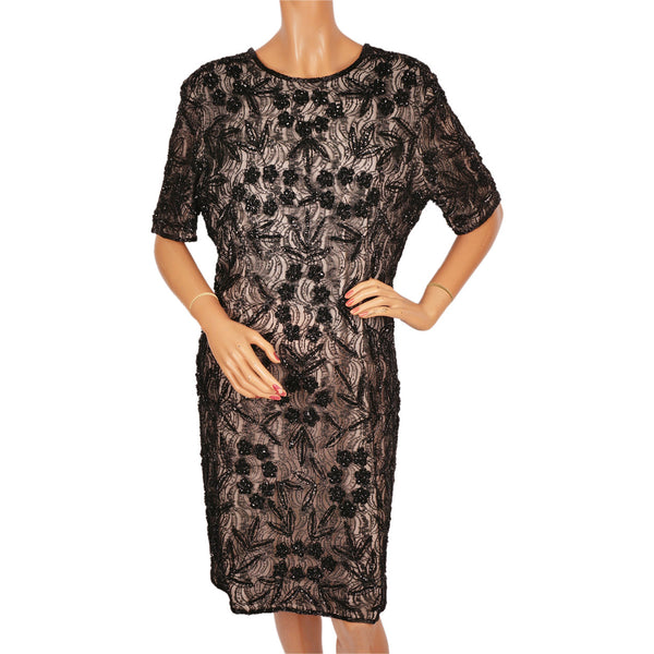 Vintage Black Beaded Lace Dress Size Large XL - Poppy's Vintage Clothing