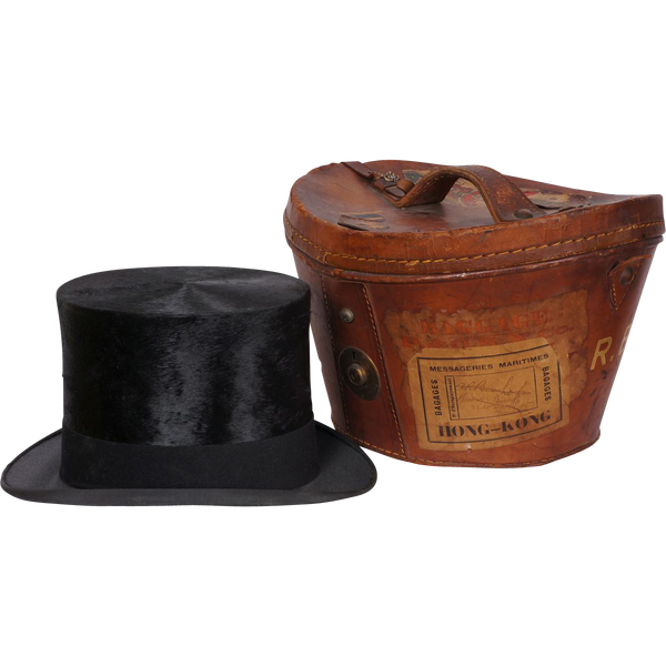 Vintage 1920s Silk Top Hat with Leather Case  - Henry Heath London - 7 1/4 - Poppy's Vintage Clothing