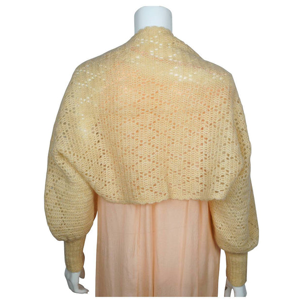 Vintage 1930s Hand Knit Beige Wool Shrug - Poppy's Vintage Clothing