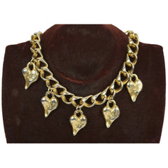 Vintage Ben Amun Hearts Necklace with Heavy Gold Toned Metal Chain - Poppy's Vintage Clothing