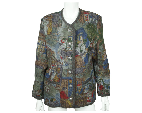 Vintage Berwin and Wolff Wool Jacket German Tracht Bohemian Scenes Ladies Size L - Poppy's Vintage Clothing