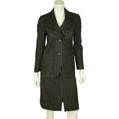 Vintage 1960s Pinstripe Wool Blend Skirt Suit Size Small - Poppy's Vintage Clothing