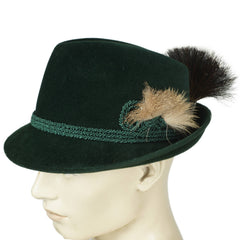 Vintage Biltmore Fedora Hat Golden Pheasant Green Velour Bavarian Hunting 7 3/8 - Poppy's Vintage Clothing
