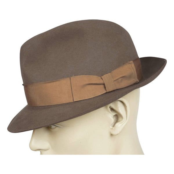 Biltmore Mens Fedora Tan Brown Fur Felt Made in Canada Large 7 3/8 - Poppy's Vintage Clothing