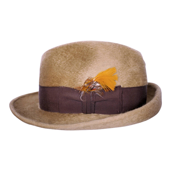 Vintage Biltmore Fedora Plush Hat Tan Brown Canadian Rondelay Size 7 1/8 1960s - Poppy's Vintage Clothing