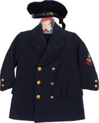 World War 2 Navy HMS Orion Sailors Hat and Coat for Child Size 5 - Poppy's Vintage Clothing