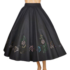 1950s-Beaded-Black-Wool-Felt-Circle-Skirt