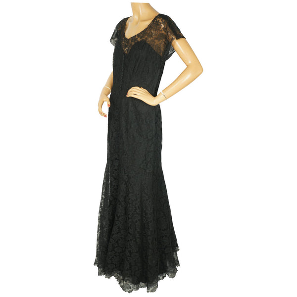 Vintage 1930s Evening Gown Black Chantilly Lace Dress Fishtail Ball Gown Sz M L - Poppy's Vintage Clothing