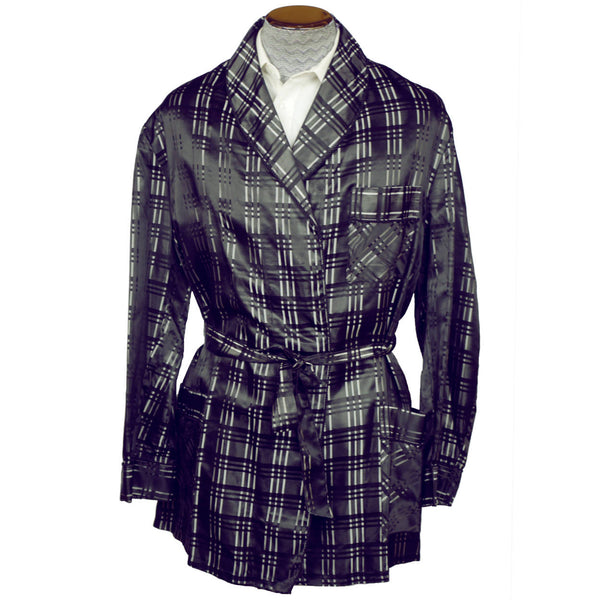 Vintage Smoking Jacket Black & Silver Satin Plaid Pattern Robe Mens Size XL - Poppy's Vintage Clothing