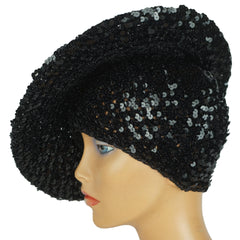 Vintage 70s Black Sequinned Beret Disco Hat