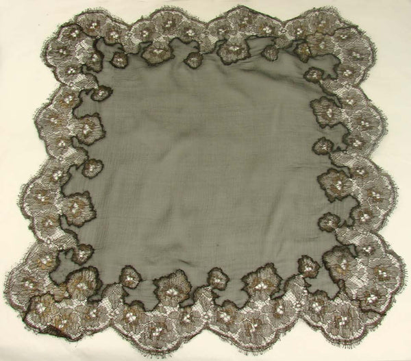 Vintage 1920s Black Silk Chiffon and Gold Metallic Lace Handkerchief - Poppy's Vintage Clothing