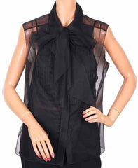 Chanel Paris Sleeveless Blouse Fall/Autumn 2002 Black Polyester Top - Poppy's Vintage Clothing
