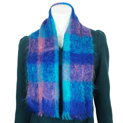 Vintage 60s Wool Mohair Scarf Blue & Magenta Tones - Poppy's Vintage Clothing