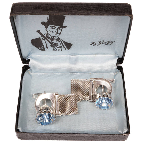 Vintage 1960s Blue Rhinestone Cufflinks w Cuff Guards - Poppy's Vintage Clothing