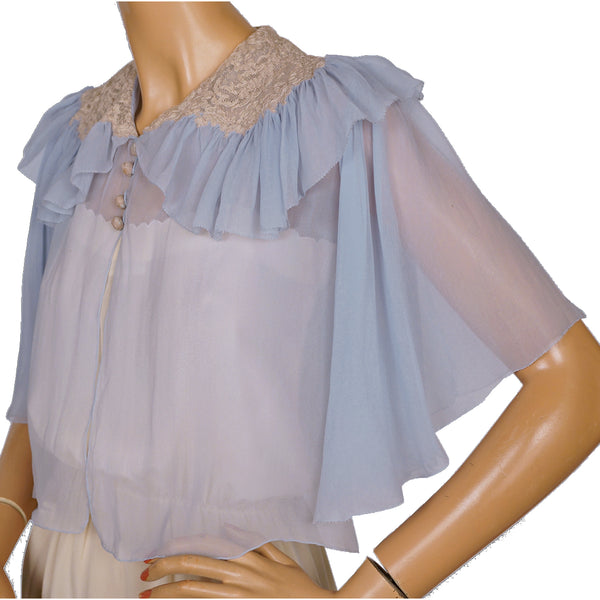 Vintage 1930s Bed Jacket Blue Silk Chiffon w Lace Trim Ethereal S M - Poppy's Vintage Clothing