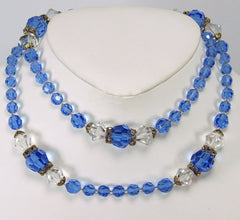 Vintage Crystal Strand Necklace Faceted Beads Blue & Clear 1950s - Poppy's Vintage Clothing
