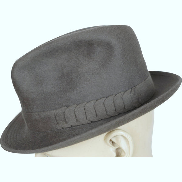 Vintage Borsalino Fedora Mens Grey Plush Finish Hat Qualita Superiore Size 7 1/8 - Poppy's Vintage Clothing