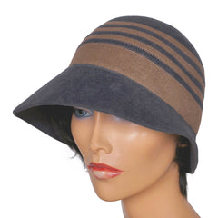 Vintage Borsalino Cloche Hat - Grey with Taupe Stripes Ladies Size 7 - Poppy's Vintage Clothing