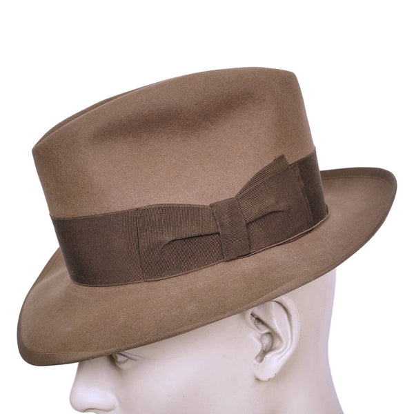 Borsalino-Brown-50s-Fedora-Hat-Bow-View
