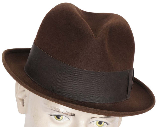 Vintage Borsalino Brown Fedora Hat Mens Size Large 7 1/4 - Poppy's Vintage Clothing