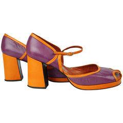 Vintage Chunky Shoes Purple & Orange 70s Platform Size 9 - Poppy's Vintage Clothing