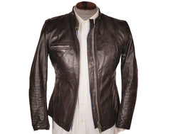 Vintage Brimaco Cafe Racer Leather Motorcycle Jacket 1960s Size Small - Poppy's Vintage Clothing