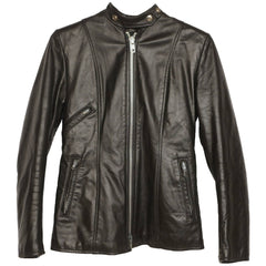 Vintage Brimaco Cafe Racer Black Leather Motorcycle Jacket 1960s Ladies Small - Poppy's Vintage Clothing