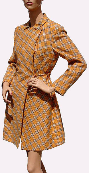 Vintage 1960s Mod Orange Wool Plaid Coat - Brioni - Couture - Poppy's Vintage Clothing