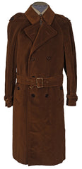 Vintage 70s Mens Mod Trench Coat Brown Velvet L - Poppy's Vintage Clothing