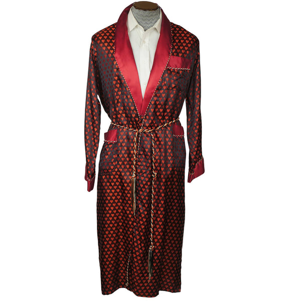 Vintage Mens Dressing Gown Woven Satin Robe with Hearts - Size M - Poppy's Vintage Clothing