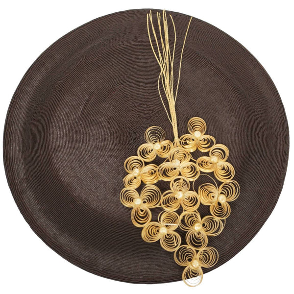 Vintage 1930s 40s Ladies Brown Straw Beret Hat Flore Deschamps Montreal Small - Poppy's Vintage Clothing