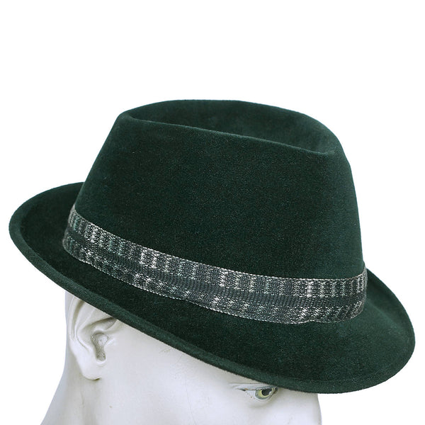 Vintage 1960s Mens Fedora Hat Custom Made Buckley Montreal Green Velour Size M - Poppy's Vintage Clothing