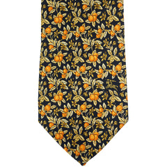 Vintage Burberrys Silk Tie Orange Pattern Necktie
