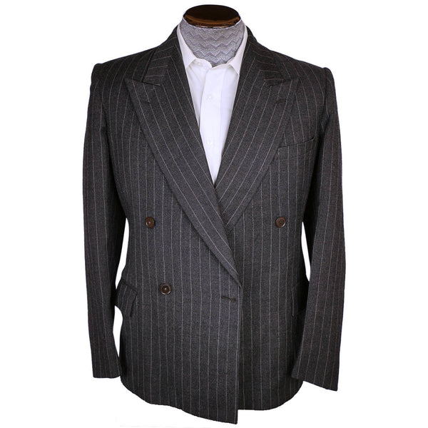 Vintage 1920s Mens Suit Jacket Burton Charcoal Grey Pinstripe Peaky Blinders M - Poppy's Vintage Clothing