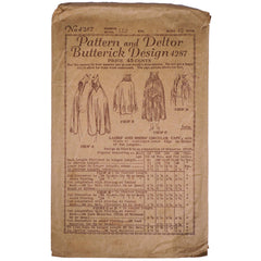 Vintage 1910s Butterick Pattern Ladies Cape 4287 Complete Size 40 Bust - Poppy's Vintage Clothing