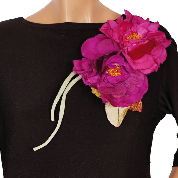 Vintage Gallic Rose Silk and Velvet Millinery Double Flower Pink & Violet Large - Poppy's Vintage Clothing
