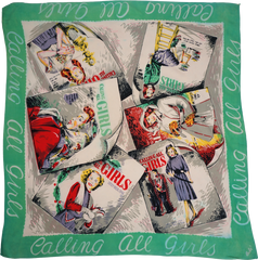 Calling All Girls 1940s Novelty Scarf