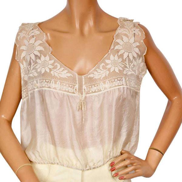Antique silk & lace camisole