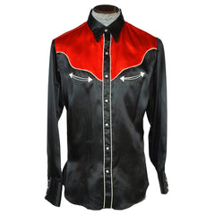 Vintage 1960s Western Black & Red Satin Cowboy Shirt Caravan Alberta Mens L 16 - Poppy's Vintage Clothing
