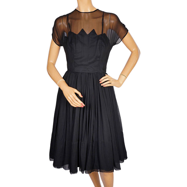 Vintage 1960s Black Chiffon Cocktail Dress - Carol Robins - XS - Poppy's Vintage Clothing