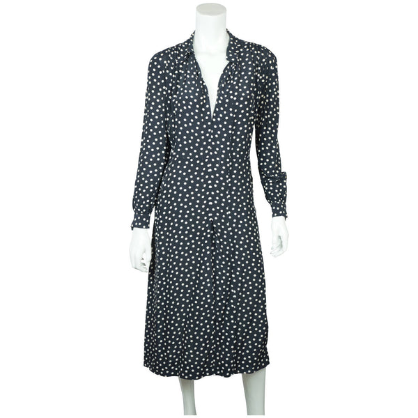 Vintage 1930s Day Dress Navy Blue with White Polka Dots Casually Young Size L XL - Poppy's Vintage Clothing