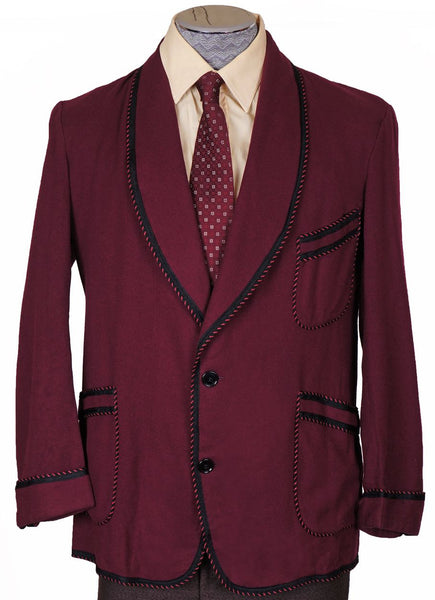 1940s Smoking Jacket by Caulfeild in Maroon Wool - Poppy's Vintage Clothing