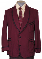 1940s Smoking Jacket by Caulfeild in Maroon Wool