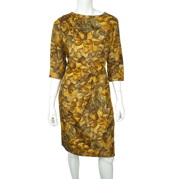 Vintage Ceil Chapman Wiggle Dress Abstract Leaf Pattern Printed Silk 1950s Sz M - Poppy's Vintage Clothing