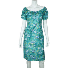 1950s-Ceil-Chapman-Printed-Cotton-Wiggle-Dress