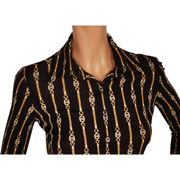 0b32357b6e3038 Vintage Celine Paris Black Silk Jersey Shirt Blouse 1970s Chain Patter