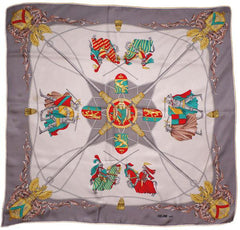 Vintage Celine Paris Silk Twill Scarf Jousting Knights Pattern - Poppy's Vintage Clothing