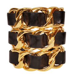 Vintage Chanel Cuff Bracelet 1980s Gold Toned Chain Black Leather - Poppy's Vintage Clothing