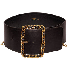 Vintage Chanel Black Leather Belt 1980s Gold Toned Chain Buckle - Poppy's Vintage Clothing