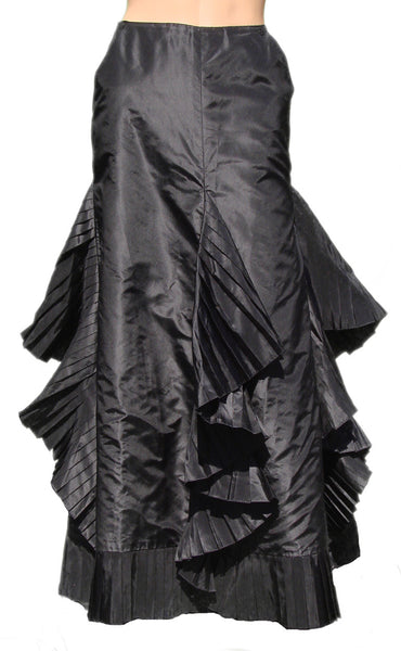Vintage Skirt by Chanel Paris in Black Silk Taffeta Ruffle - Poppy's Vintage Clothing
